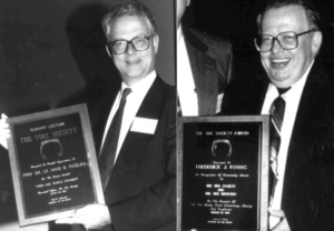 2013 Award recipient Hans Paceka (left) and 1991 recipient Fred Kovac (right)